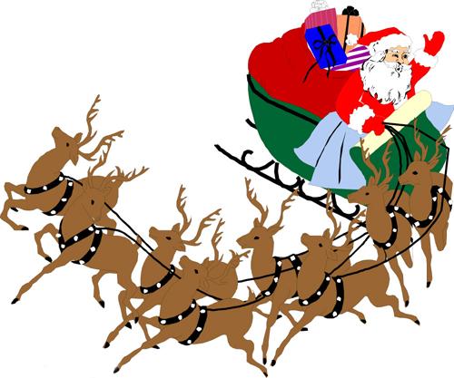 驯鹿和圣诞老人简笔画