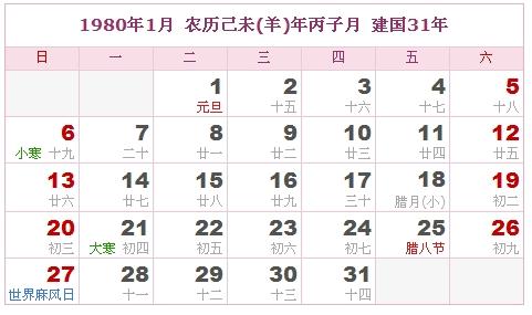 1980年日历表,1980年农历表,1980年日历带农历