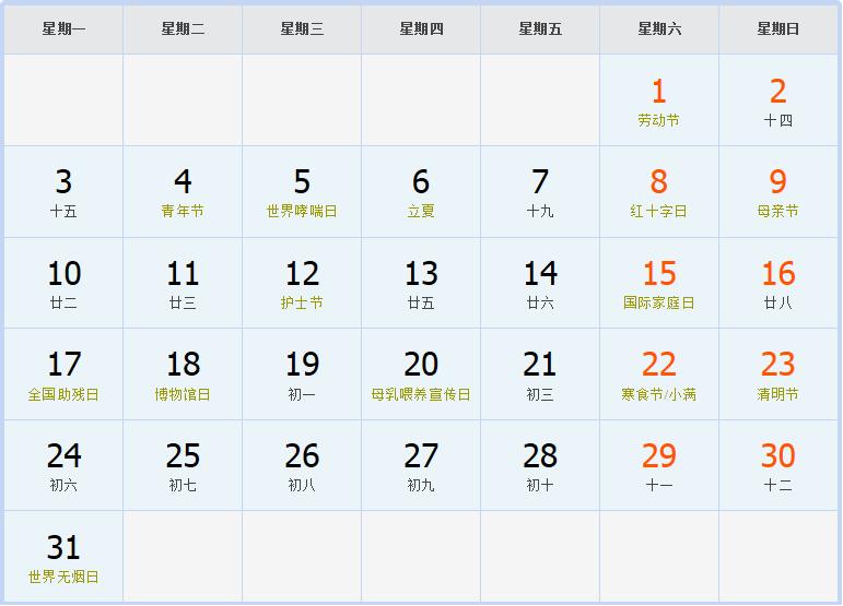 五月日历表_2004年日历表,2004年农历表(阴历阳历节日对照表)